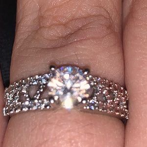 Ring with faux diamonds